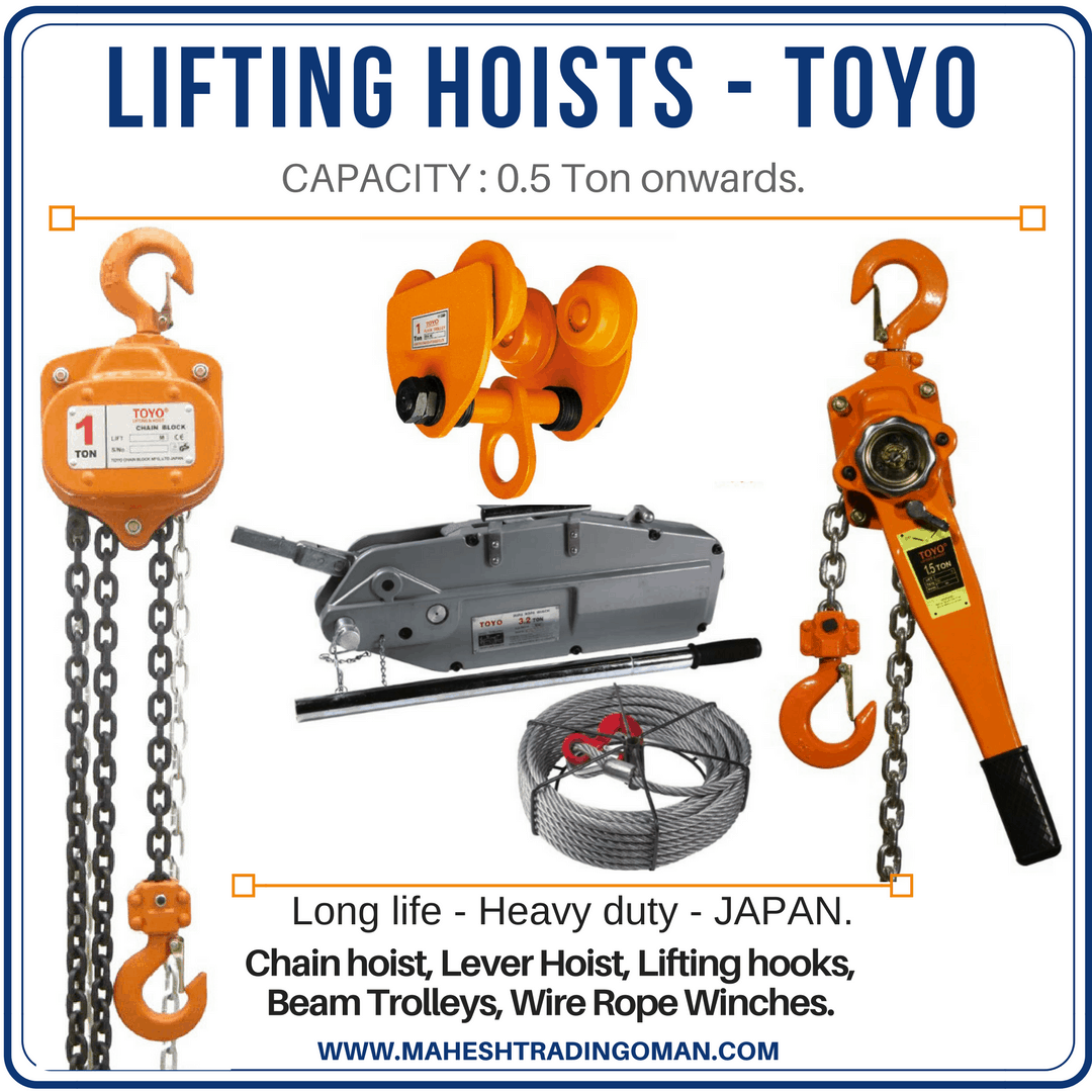 Wire rope, Chain block, Trolley, Lifting equipment.